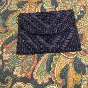 Anthropologie Handbags - Navy blue straw clutch