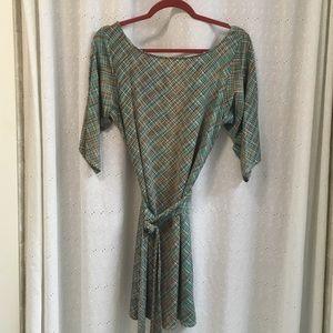 Leota Dresses & Skirts - Leota Silky new green plaid dress made in New York