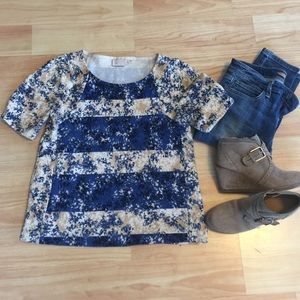 Anthropologie Floral Striped Blouse