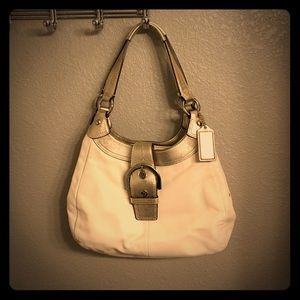 Coach Handbags - Cream and gold Coach purse
