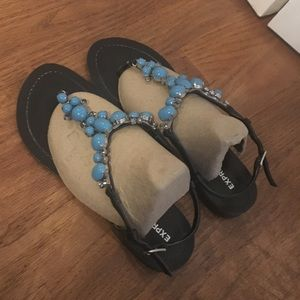 Express turquoise studded sandals.