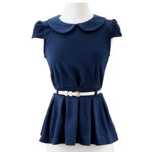 Tops - Navy peplum shirt with belt