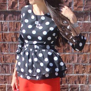 Tops - NEW Designer Polka Dot Peplum Top Blouse