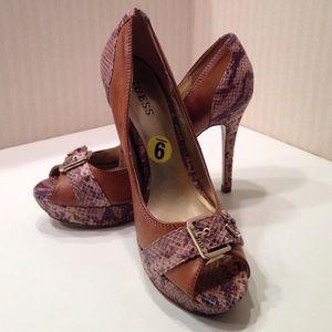 Guess Open toe faux snakeskin heels