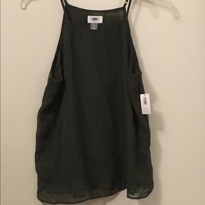 NWT Old Navy sheer hunter green tank