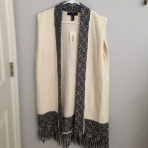 Over sized Aztec sleeveless cardigan