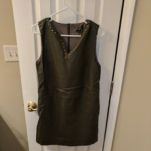 Faux leather olive shift with bronze studs