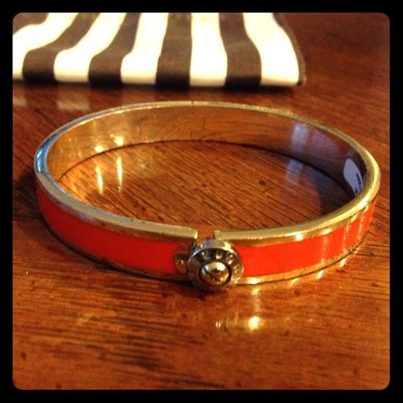 Henri Bendel Jewelry Orange Silver Bangle Bracelet Poshmark