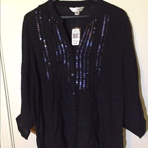 NWT Krazy Kat Blouse with Sequins