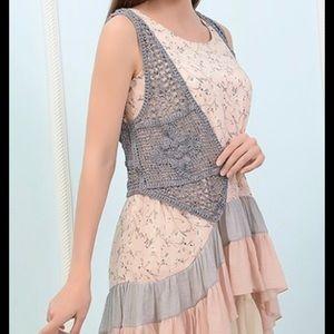 Paisley Vine Tops - Floral Print Sleeveless Tunic layered ruffle TO-32
