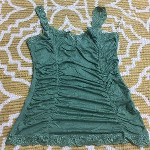 NWT Large Light Sage Green Tank with Lace Trim