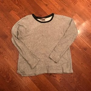 unique gray sweater with lace-up back detail