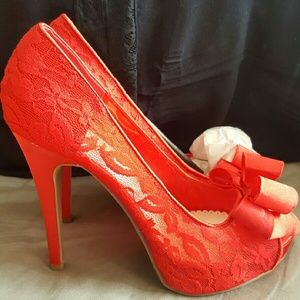 "Shoedazzle  Shoes - ""Analisa"" Shoedazzle Lace & Satin Heel"