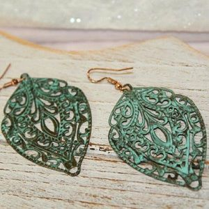 Jewelry - Patina Leaf Earrings