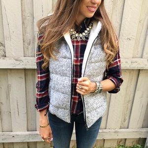 Goodnight Macaroon Jackets & Blazers - Gray Wool and Fleece Hooded Puffer Vest