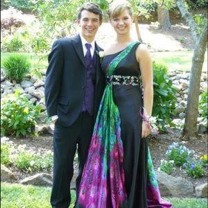Night Moves Dresses & Skirts - Night Moves Peacock print prom dress