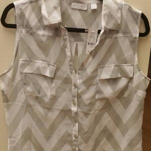 New York & Company Tops - NY&Co Grey and White Chevron Blouse