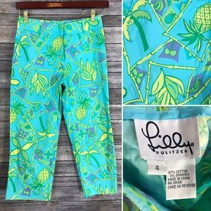 Lilly Pulitzer Pants - Lilly Pulitzer Cropped Pants 4 Bananas Pineapple