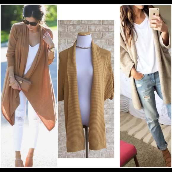 Jones Wear - Camel Long Open Front Cardigan Duster Sweater XL from ...