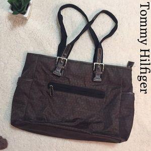 Tommy Hilfiger Handbags - Tommy Hilfiger Brown Nylon Tote w/leather trim EUC