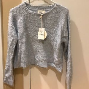 Cotton cropped knit sweater