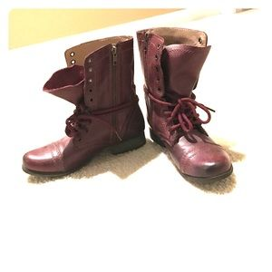d65e0203317 Wine colored Steve Madden Troopa Combat Boot