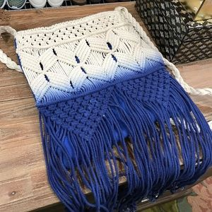 Ombre Fringe Knit Crossbody Bag