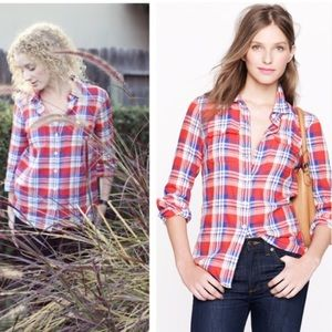 J. Crew Tops - {J.Crew} flannel boy shirt in plaid red