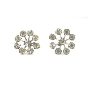 Earrings Star Rhinestones Screw on