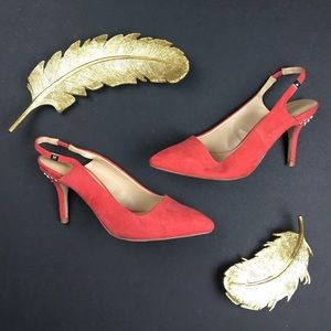 Zara Shoes - Zara Salmon Studded Heel Pointed Toe Slingbacks