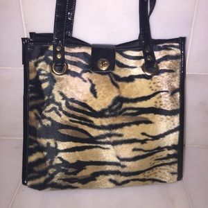 Medium Furry Tiger tote with black patent accents