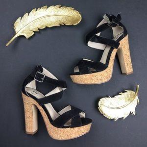 Kelsi Dagger Shoes - Kelsi Dagger Malyssa Black Strappy Platform Sandal