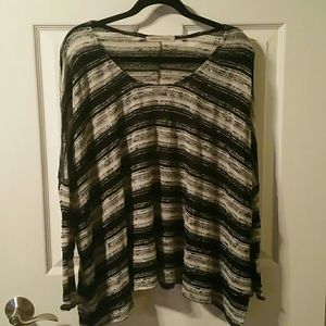 Black, White and Grey Striped Oversized Sweater
