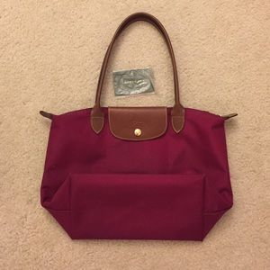 Dark Pink Longchamp Small Le Pliage Tote