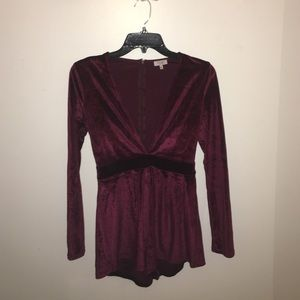 Tobi Other - Burgundy velvet romper