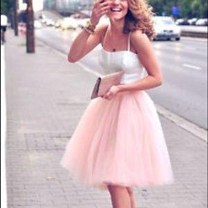 Pink tulle skirt midi length