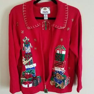 Tiara Sweaters - Tiara (Ugly?) Christmas Sweater with zipper Size M