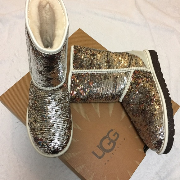 Ugg classic short sparkles boots champagne