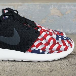 Nike Shoes - Nike Roshe Run Custom Red White Blue American Flag
