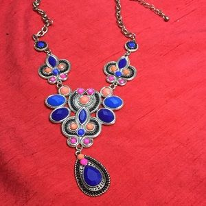 NOR Jewelry - Costume necklace blue coral pink adjustable neck