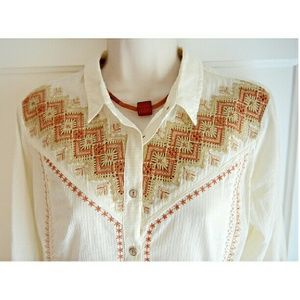 NWT Holding Horses Embroidered Button-Down