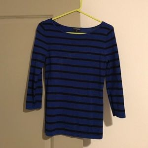 Express Tops - Dark Blue with Black Stripes 3/4 Sleeve