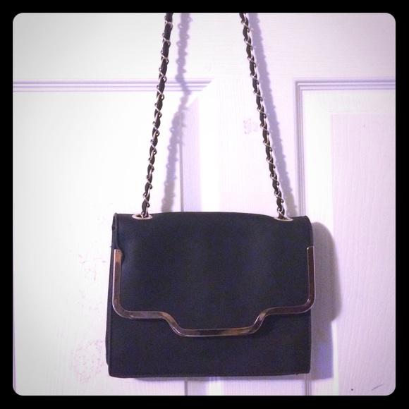 554baf87ea64 Vintage Bags | Sleek Black Thin Structure Career Gold Chain Purse ...