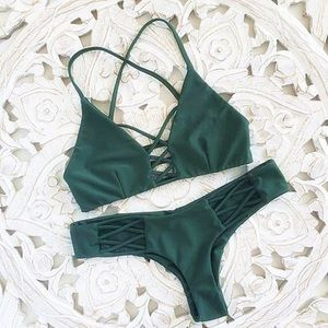 Other - SALE💥 Forest Green Strap Bikini