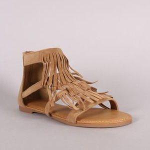 Tan Strappy Fringe Sandals