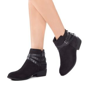 JustFab Carter Suede Ankle Bootie, Size 6.5