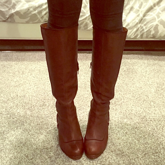 Anthropologie Faryl Robin Farylrobin Cutout Knee High Suede Boots SAND 9