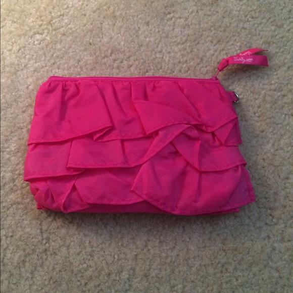 Thirty One Bags Thirtyone 31 Pink Ruffle Mini Zipper Pouch New