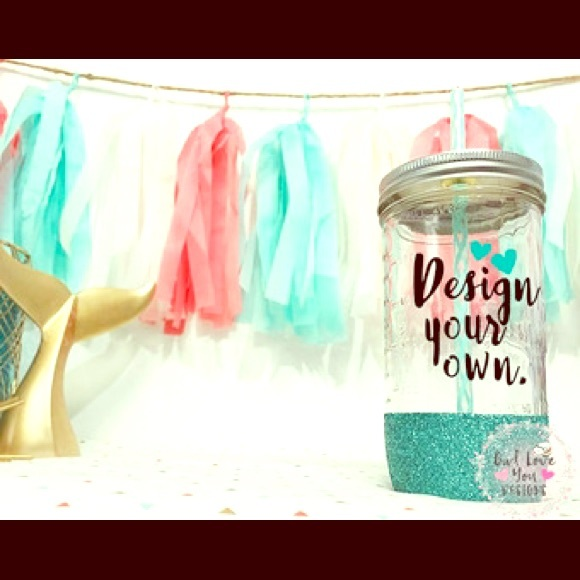 The Dainty Duck Boutique Other Design Your Own Mason Jar Glitter