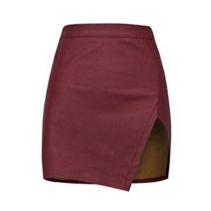 Red Wine Stretch Mini Skirts